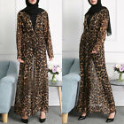 Women Long Sleeves Leopard Print Open Front Muslim Islamic Maxi Long Dresss