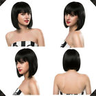 EMMOR Short Straight Bob Human Hair Wigs with Bangs Hair Styling