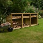 Empingham 4ft Outdoor Wooden Log Store - Reversed Roof - UK HAND MADE