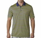 Adidas Club Merch Stripe Golf Shirt Dark Blue Vivid Yellow  -  2017 Closeout