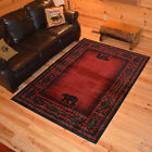 Woodlands Bear Cabin Western Rug Various Sizes and Shapes with FREE Shipping