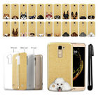 For LG K10 Premier LTE L62VL K428 Dog Design Sparkling Gold TPU Case Cover + Pen