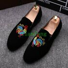 Mens Slip On Velvet Shoes Leisure Embroidery Moccasin-Gommino Pointy Toe Chic