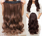 "18"" Full Head Clip in Human Hair Extensions One Piece 5 Clips Wave 80g US Stock"
