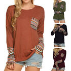 Women's Patchwork Casual Loose T-shirts Blouse Tops With Thumb Holes Loose Lot