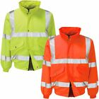 Mens Hooded Hi Vis Visibility Bomber Jacket High Viz Padded Safety Coat Size