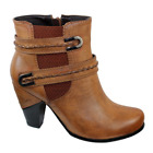 REDZ Tan Brown Mid Heel Women's Ankle Boot
