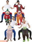 Piggy Back Costume Fun Ride On Pick Me Up Clown Grandma Gnome Fancy Dress Adults
