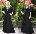 Long Party Dance Dress Wrap Style Wide Swing 3/4 Sleeve Black UK Size 8/10