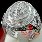 MENS REAL DIAMOND FREE MASON MASONIC G COMPASS RING BAND 10K WHITE GOLD FINISH