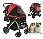 Foldable 4 Wheels Pet Stroller With Canopy Storage Basket Dog Cat Animal Carrier