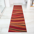 Modern Red Orange Striped Hallway Runner Rugs Long Thin Narrow Warm Rug For Hall