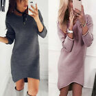 Winter  Women Solid O-Neck Sweater Long Shirt Casual Long Sleeve Pullover Dress