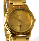 Authentic Mens Seiko Watch Stainless Steel Gold-Tone Water Resistant 7N01-7A50