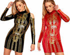 Womens Velour Velvet Cold Shoulder High Neck Gold Foil Print Bodycon Mini Dress