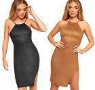 Womens Faux Suede Strappy Sleeveless Open Back New Ladies Bodycon Party Dress