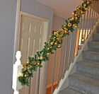 Pre Lit 1.8m Red Stairs Fireplace Christmas Garland 6ft Swag 40 Warm White Light