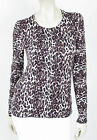 FRENCH CONNECTION Leopard Knit Cotton Back Button Sweater in Stone/Black NWT