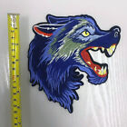Embroidered Blue Wolf Head Iron On Patch Sew On Embroidery Badge Werewolf Animal