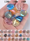 Curve Discoid Faceted Rondelle Crystal Glass Loose Spacer DIY Beads 12mm14mm18mm