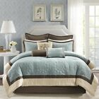 ++ Beautiful Blue Embroidered Damask Floral Comforter 9 pcs Set King Queen