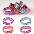 New Bling Rhinestone Dog Collars Pet Puppy Cat Crystal Synthetic Leather NC89