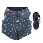 denim pet harness vest blue jacket jean star clothes with pocket for small dogBH