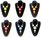 Fashion Jewellery Petal Flowers Round Stones Long 4 Flowered Necklace **choose**