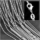 """5pcs 1.5mm 925 Silver Plated Bamboo Bead Chain Necklaces 16""""-30"""" Necklace Chain"""
