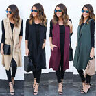 Womens Lapel Sleeveless Long Waistcoat Coat Blazer Blouse Ve