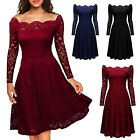 ISASSY Women's Vintage Lace Crew Neck Wedding Cocktail Evening Party Swing Dress