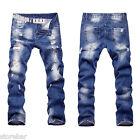 US Mens Straight Leg Distressed Jeans Ripped Destroyed Denim Pants Trousers Slim