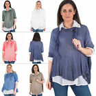 Womens Tunic Top Felicity Lagenlook 3Pcs Mesh Net Sequin Floral Side Panel Scarf