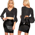 Womens Long Sleeve Wrap Over Tied Lurex Glitter Belted New Ladies Party Crop Top