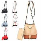 Ladies Two Tone Faux Leather Shoulder Bag Bucket Coin Purse Bag Handbag MA35072