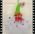 Handmade Christmas Deco Mesh Santa Hat Door Hanger/ Wreath - Red/ Lime Green