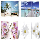Room Divider Wooden Privacy Screen Folding Dual Sided Print Flower/Beach 4 Sizes