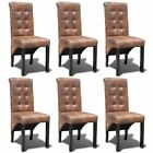 2/4/6 Roll Back Tufted Dining Chairs Brown Button Accents Suede Feel Classic✓