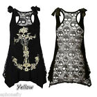 US 1.99 Skull Print vest Steampunk Sexy Women Gothic visual kei Rock Tank Tops