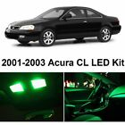 8pcs Green Bulb Car LED Llights Interior Package Kit For 2001-2003 Acura CL AC1W
