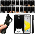 "For HTC Bolt, 10 Evo 5.5"" Cat Design TPU Black SILICONE Soft Case Cover + Pen"