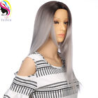 FeiBin Long Synthetic Straight 2Tone Ombre Wigs For Women Cosplay Soft Hair Wigs
