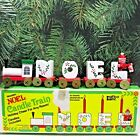 VTG Wooden NOEL Christmas Train Candle Holders w Santa in Box Giftco