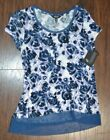 Simply Vera VERA WANG Short Sleeve Ink Rose Top Blouse with Accent trim