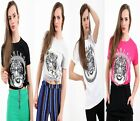 Womens Ladies Short Sleeves Fearless Tiger Print Crew Neck T Shirt Top 8-14