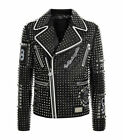 Fashion Jackets Punk Plein Silver Studded Leather Real Soft Leather Jackets