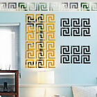 10 x 3D Mirror Wall Sticker Decor Geometric Greek Key Patterns Acrylic Removable