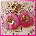 Candy Pink Agate Donut Ear Weights - hanging style stretched ears