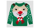 Hybrid Apparel Girls Reindeer Ugly Christmas/Holiday Knit Sweater~Sequin Glasses