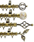 28mm Diameter Metal Curtain Pole Various Finials Polished & Brushed Chrome Brass